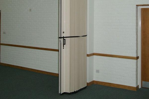 tied back folding partition door
