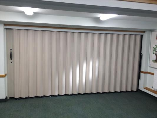 folding partition door closed